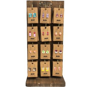 Wooden Display with 12 hooks