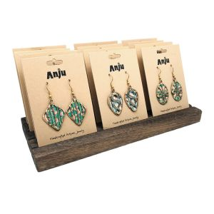12 Pairs of Patina Earrings (Blue/Green) and Display