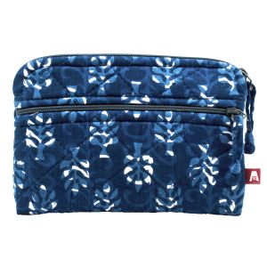 Hand block-printed, 100% cotton. Indigo Palms - Kindle Pouch