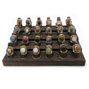 24 Rings with Semiprecious Stones (With Display)