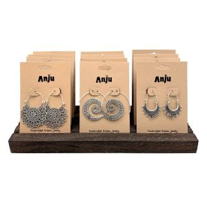 Tanvi Collection Earrings Prepack - 12 Pairs Silver & Display